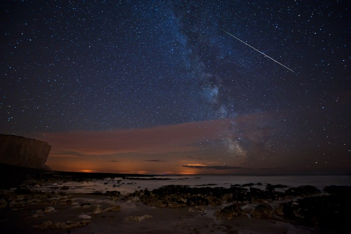 Birling Gap Perseids meteor shower in August by Les Hunt