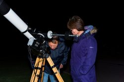 Stargazing with telescope