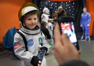 Boy dressed as astronaut at South Downs Dark Skies Festival