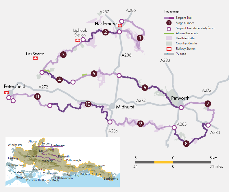 Overview map of the Serpent Trail